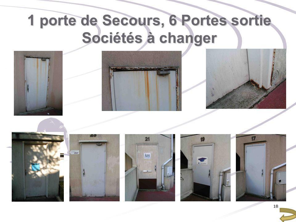 1 porte de Secours, 6 Portes sortie Sociétés à changer