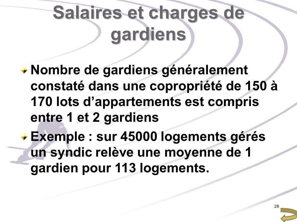 Salaires et charges de gardiens