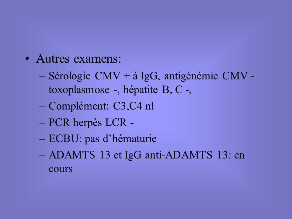 Autres examens: Sérologie CMV + à IgG, antigénémie CMV - toxoplasmose -, hépatite B, C -, Complément: C3,C4 nl.