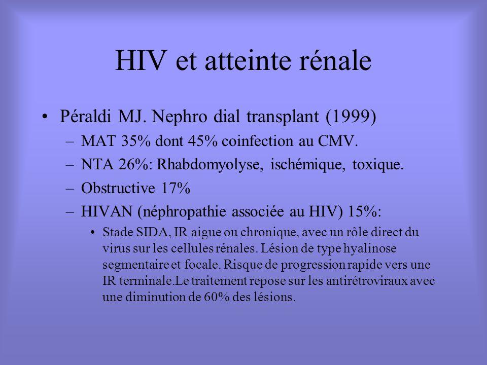 HIV et atteinte rénale Péraldi MJ. Nephro dial transplant (1999)