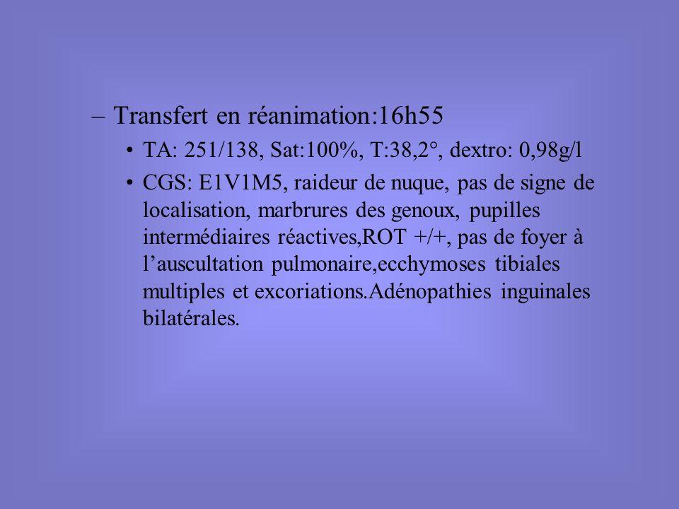 Transfert en réanimation:16h55
