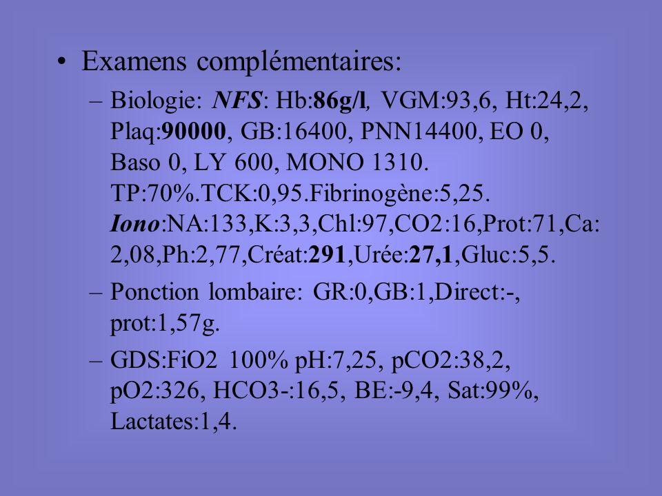 Examens complémentaires: