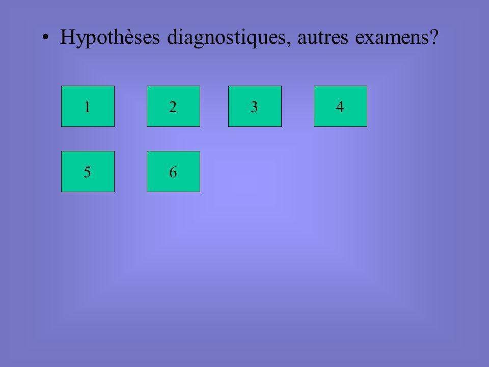 Hypothèses diagnostiques, autres examens