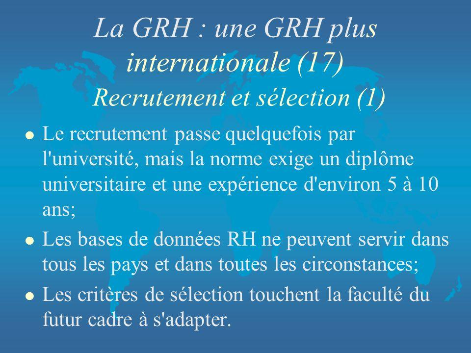 La GRH : une GRH plus internationale (17) Recrutement et sélection (1)