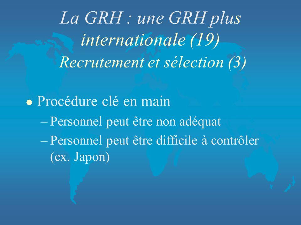 La GRH : une GRH plus internationale (19) Recrutement et sélection (3)