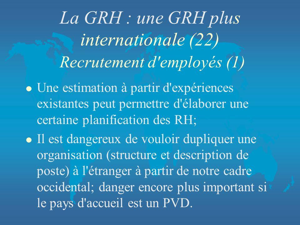 La GRH : une GRH plus internationale (22) Recrutement d employés (1)