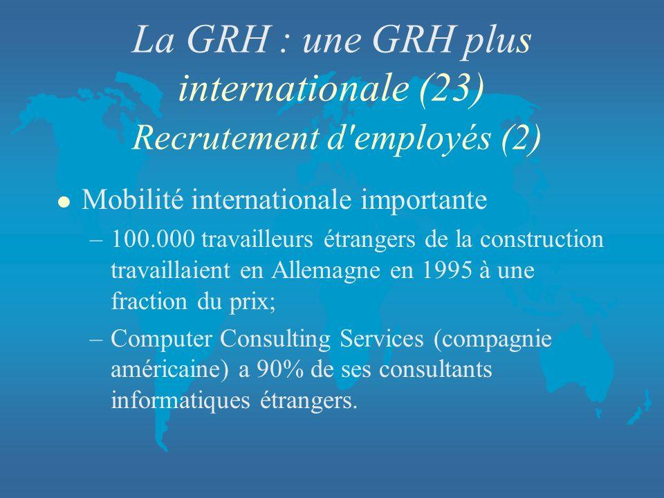 La GRH : une GRH plus internationale (23) Recrutement d employés (2)