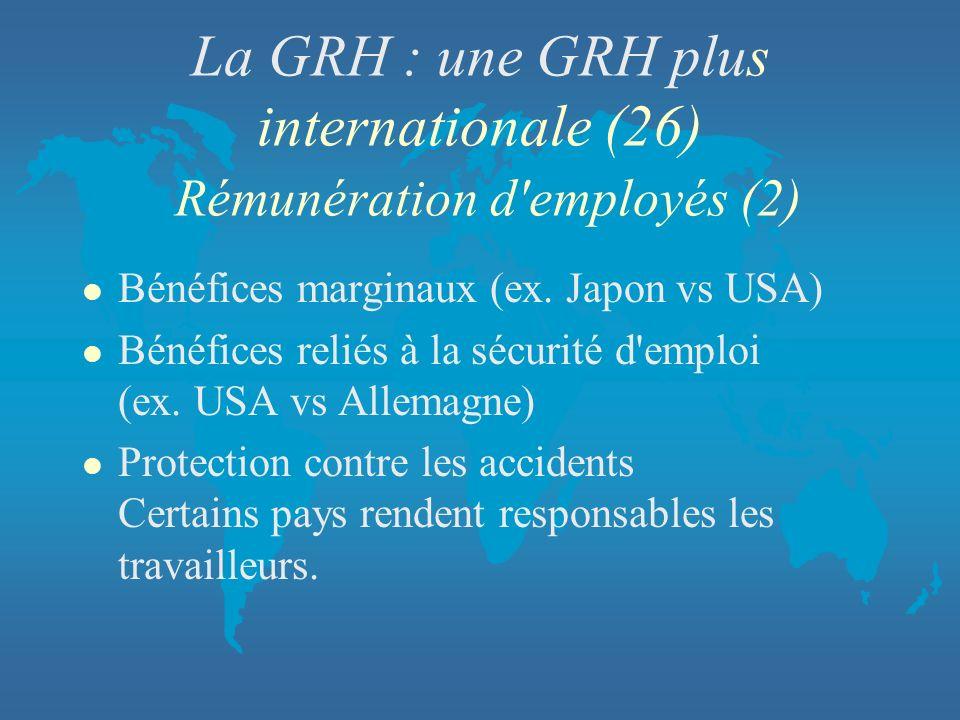 La GRH : une GRH plus internationale (26) Rémunération d employés (2)