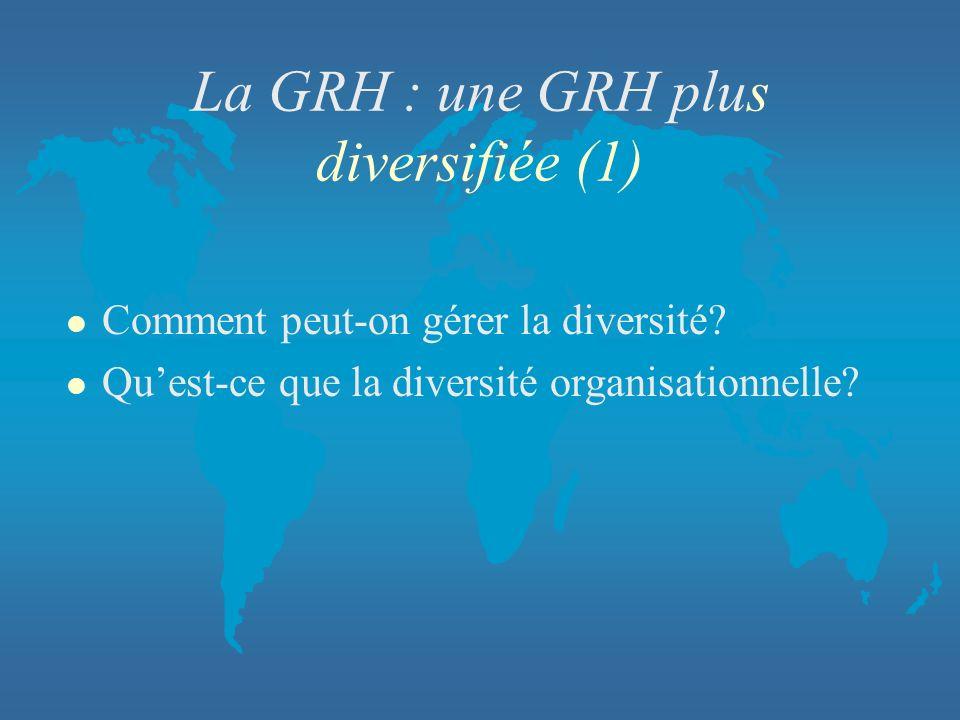 La GRH : une GRH plus diversifiée (1)