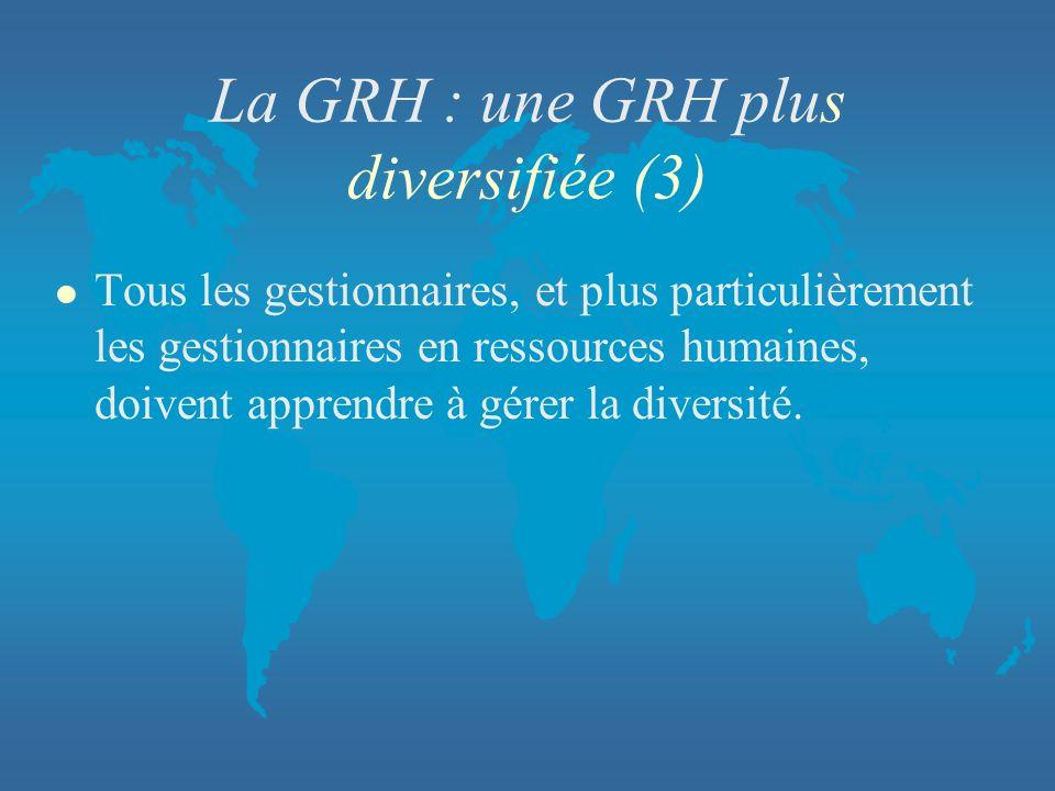 La GRH : une GRH plus diversifiée (3)