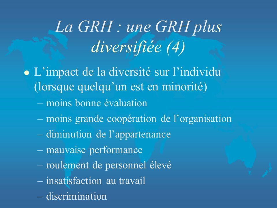 La GRH : une GRH plus diversifiée (4)