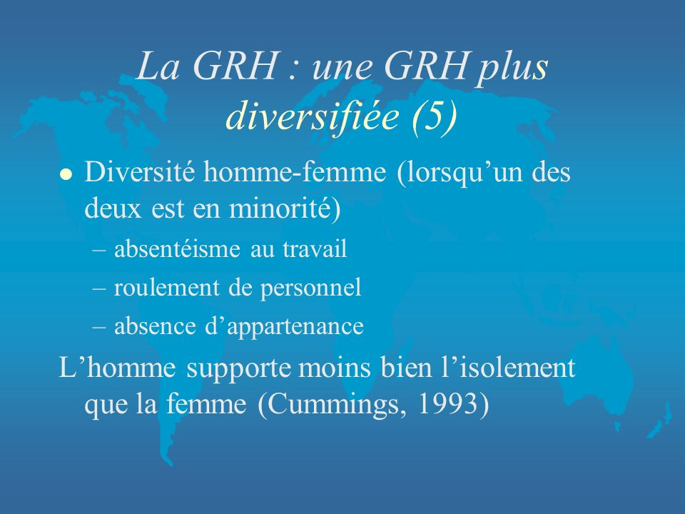 La GRH : une GRH plus diversifiée (5)