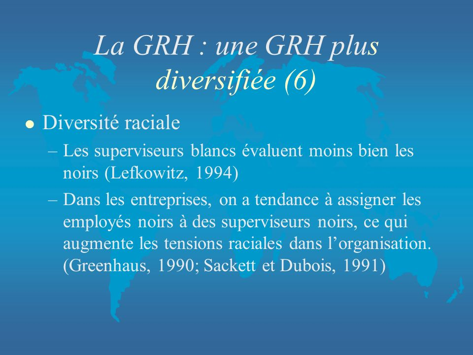 La GRH : une GRH plus diversifiée (6)