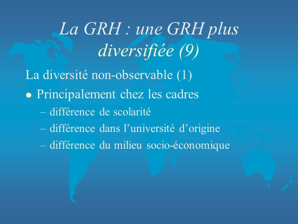 La GRH : une GRH plus diversifiée (9)