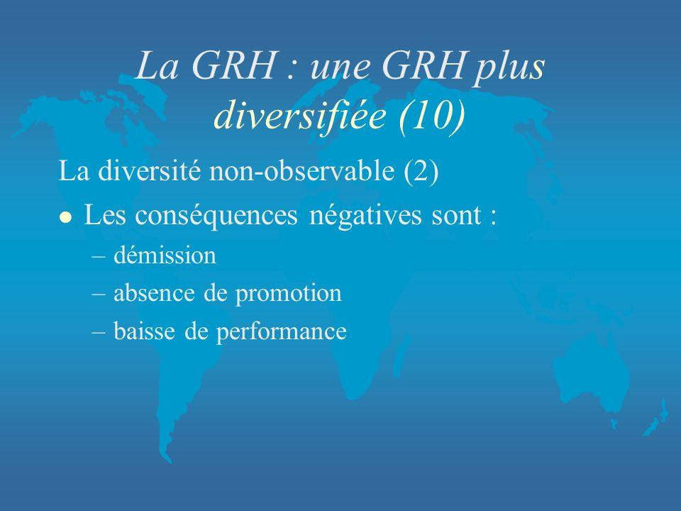 La GRH : une GRH plus diversifiée (10)