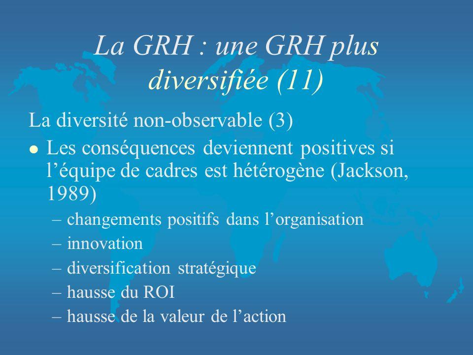 La GRH : une GRH plus diversifiée (11)