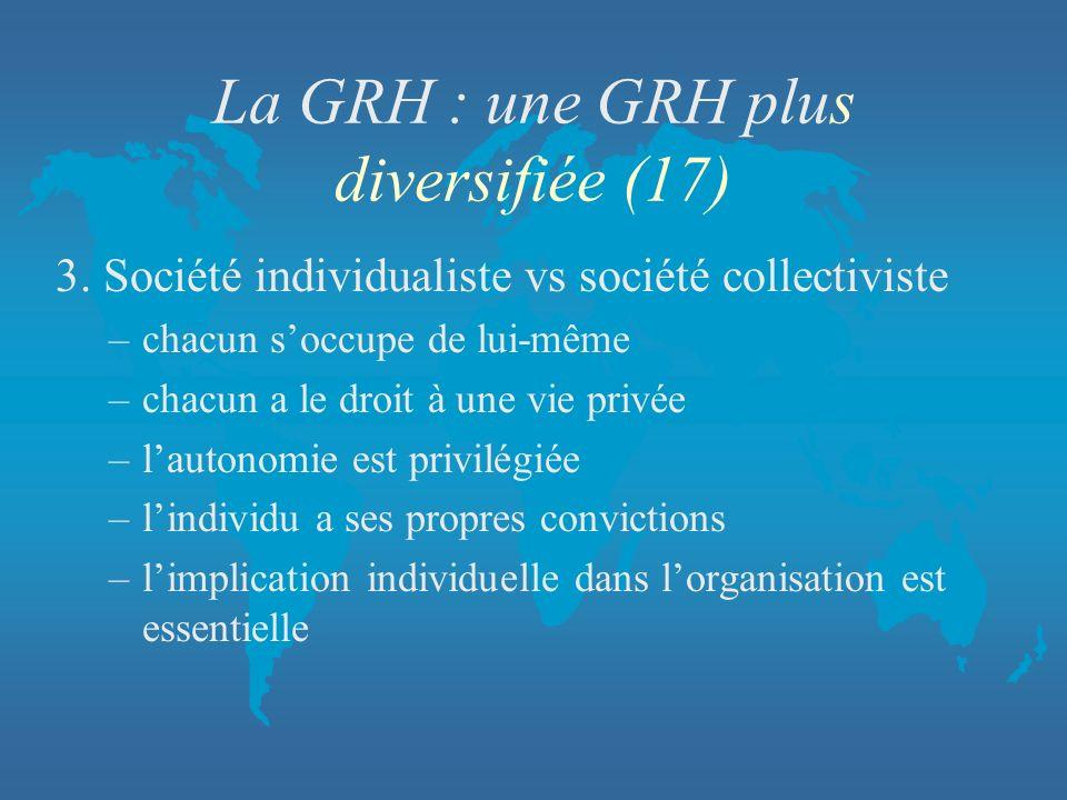 La GRH : une GRH plus diversifiée (17)