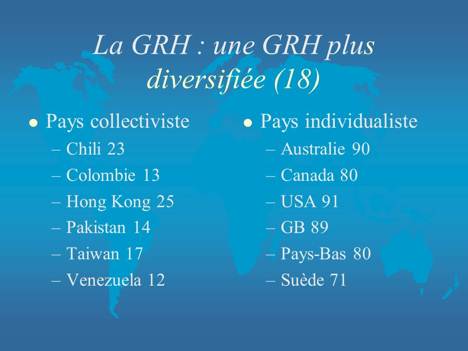 La GRH : une GRH plus diversifiée (18)