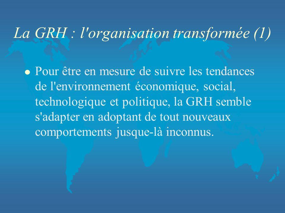 La GRH : l organisation transformée (1)