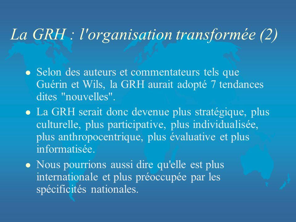 La GRH : l organisation transformée (2)