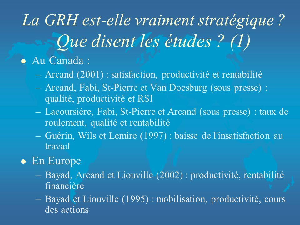 La GRH est-elle vraiment stratégique Que disent les études (1)