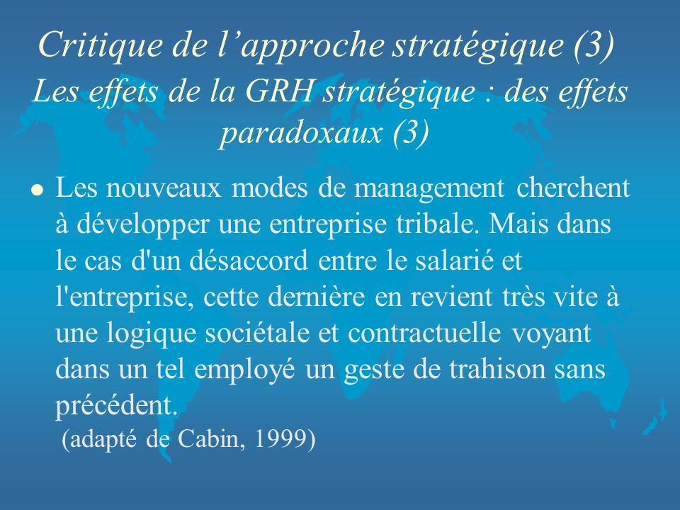 Critique de l'approche stratégique (3) Les effets de la GRH stratégique : des effets paradoxaux (3)