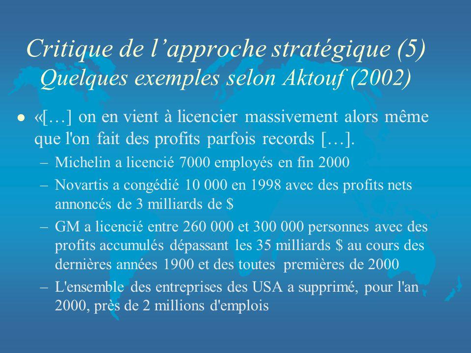 Critique de l'approche stratégique (5) Quelques exemples selon Aktouf (2002)