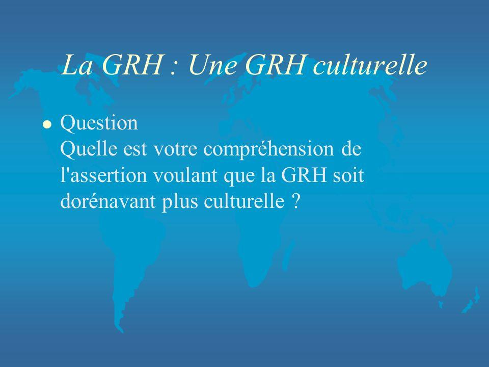 La GRH : Une GRH culturelle