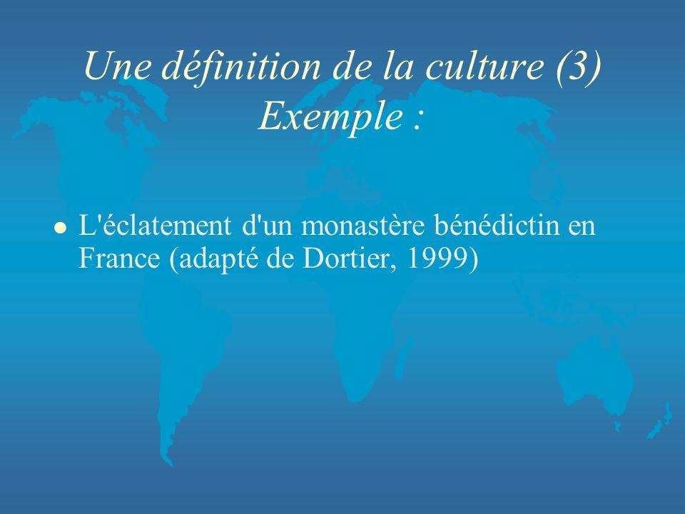 Une définition de la culture (3) Exemple :