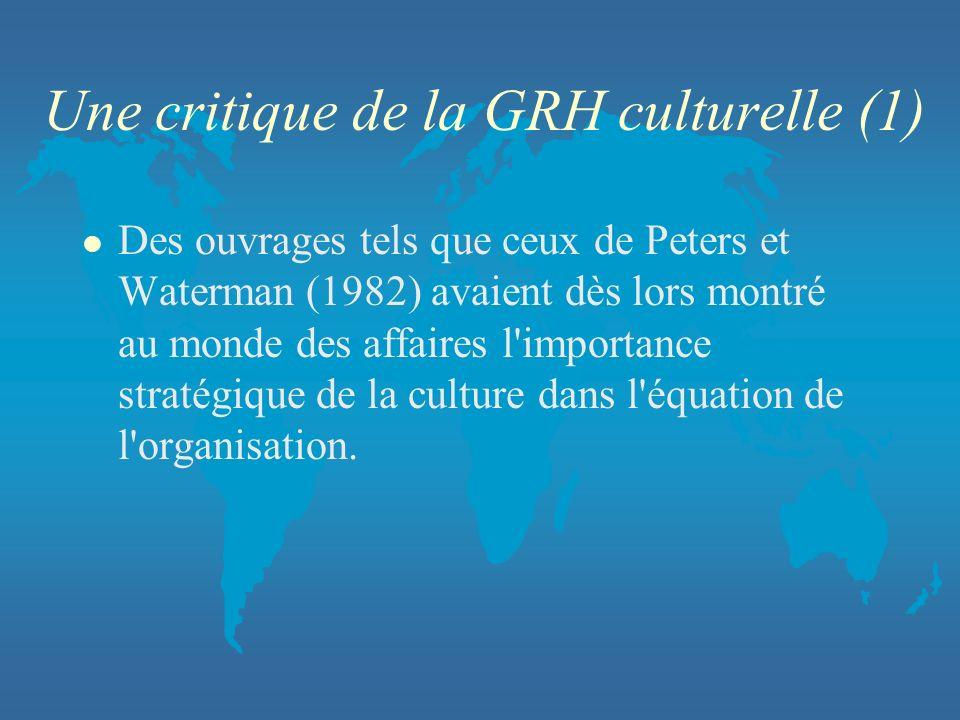 Une critique de la GRH culturelle (1)
