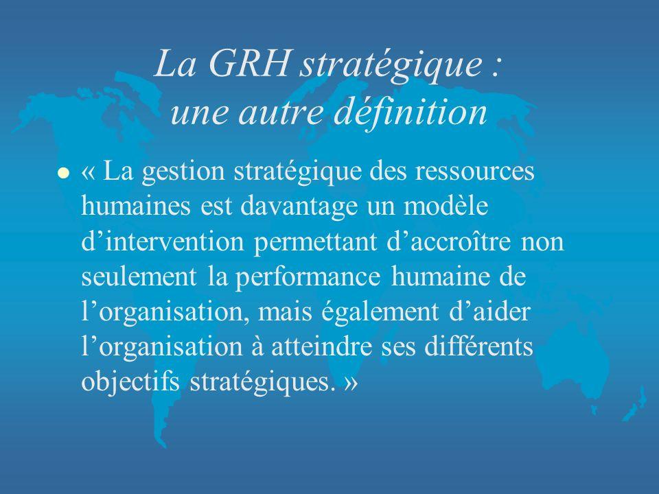 La GRH stratégique : une autre définition