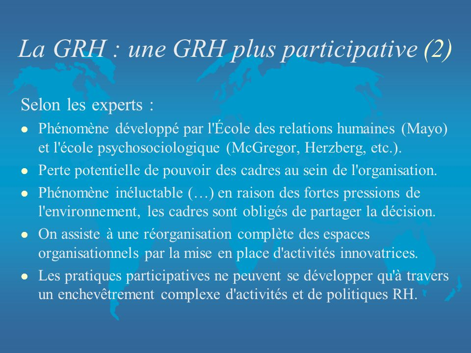 La GRH : une GRH plus participative (2)