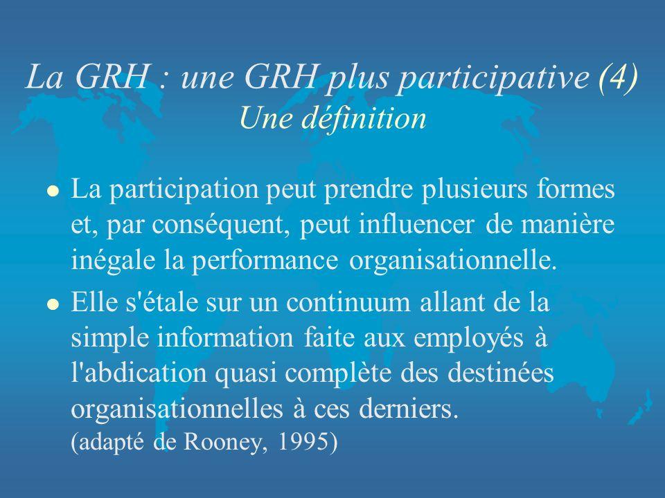 La GRH : une GRH plus participative (4) Une définition
