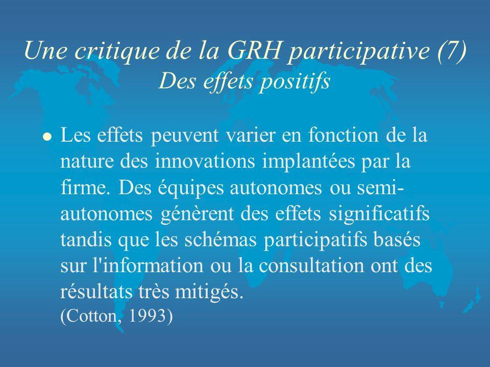 Une critique de la GRH participative (7) Des effets positifs