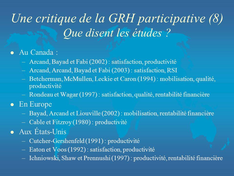 Une critique de la GRH participative (8) Que disent les études
