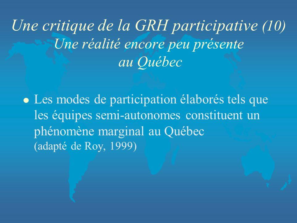 Une critique de la GRH participative (10) Une réalité encore peu présente au Québec