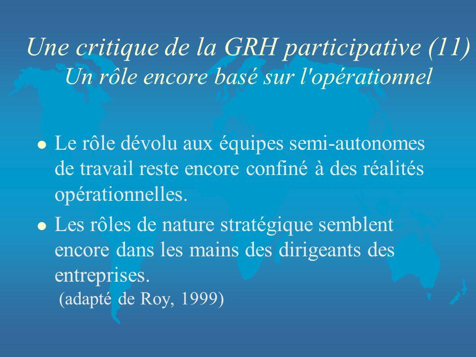 Une critique de la GRH participative (11) Un rôle encore basé sur l opérationnel