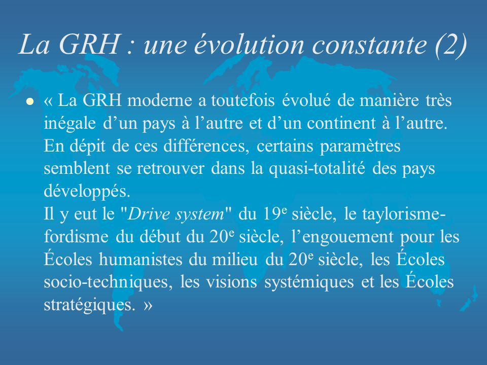 La GRH : une évolution constante (2)