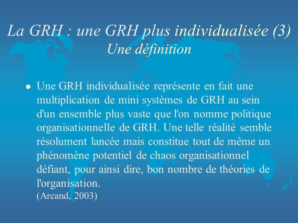 La GRH : une GRH plus individualisée (3) Une définition