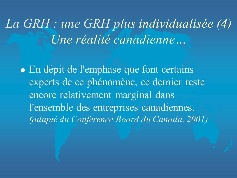 La GRH : une GRH plus individualisée (4) Une réalité canadienne…