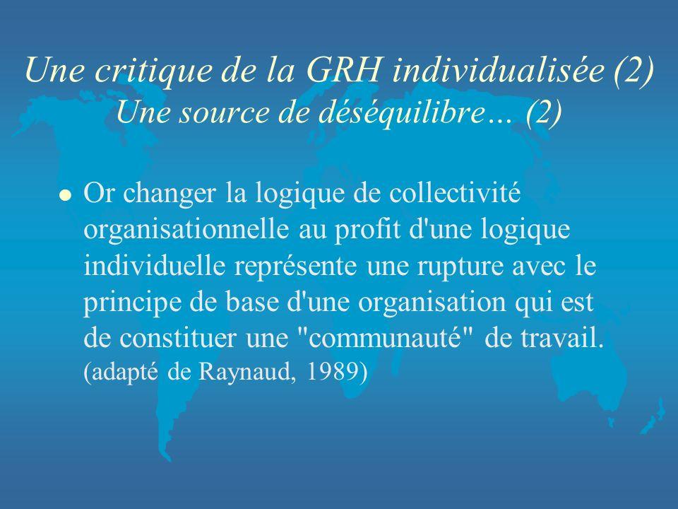 Une critique de la GRH individualisée (2) Une source de déséquilibre… (2)