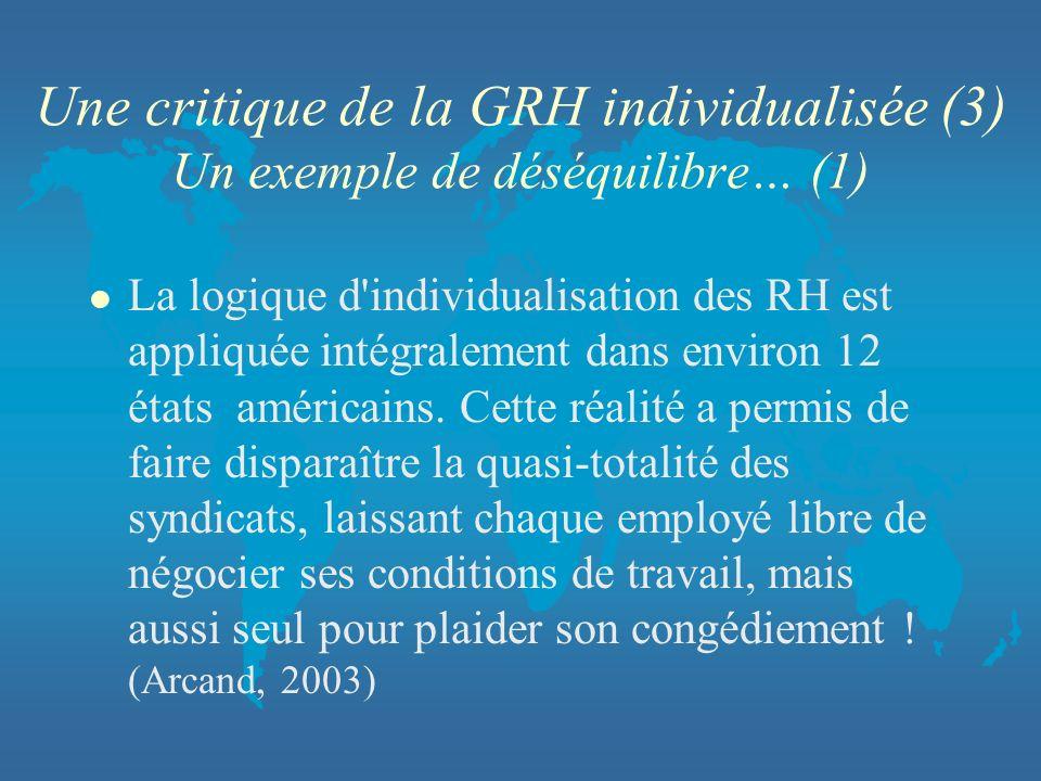Une critique de la GRH individualisée (3) Un exemple de déséquilibre… (1)