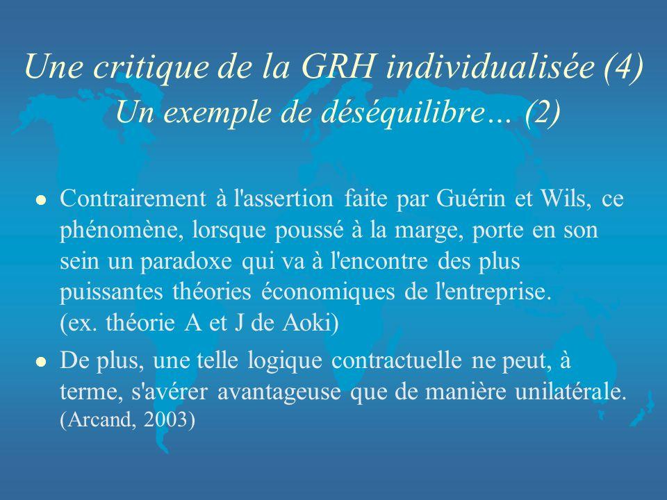 Une critique de la GRH individualisée (4) Un exemple de déséquilibre… (2)