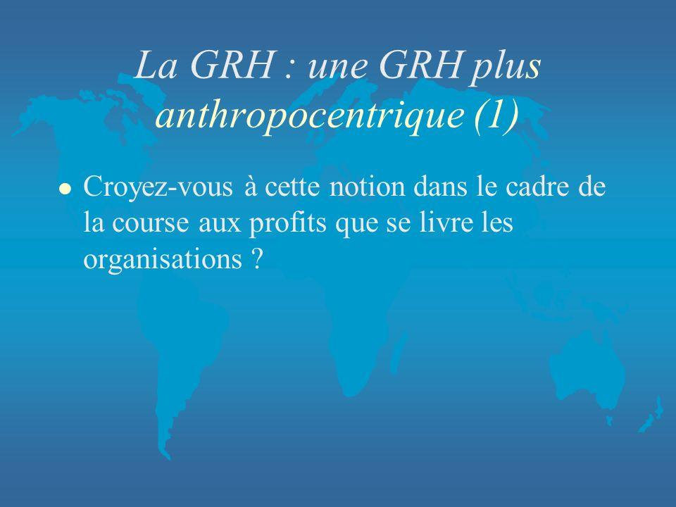 La GRH : une GRH plus anthropocentrique (1)