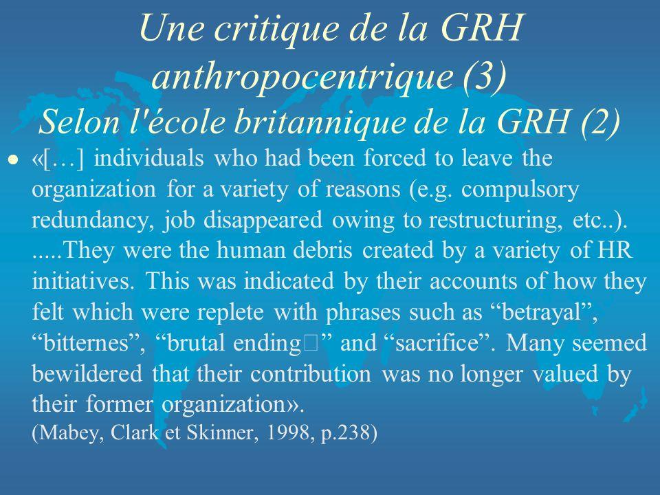 Une critique de la GRH anthropocentrique (3) Selon l école britannique de la GRH (2)