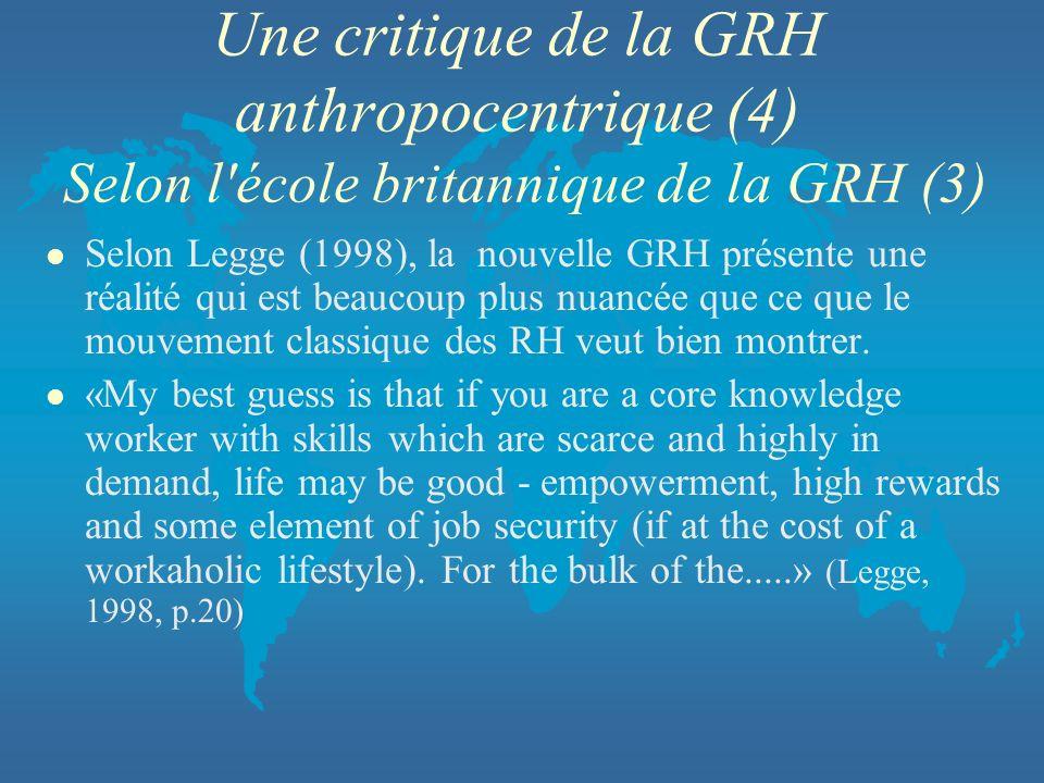 Une critique de la GRH anthropocentrique (4) Selon l école britannique de la GRH (3)