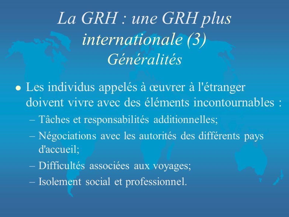La GRH : une GRH plus internationale (3) Généralités