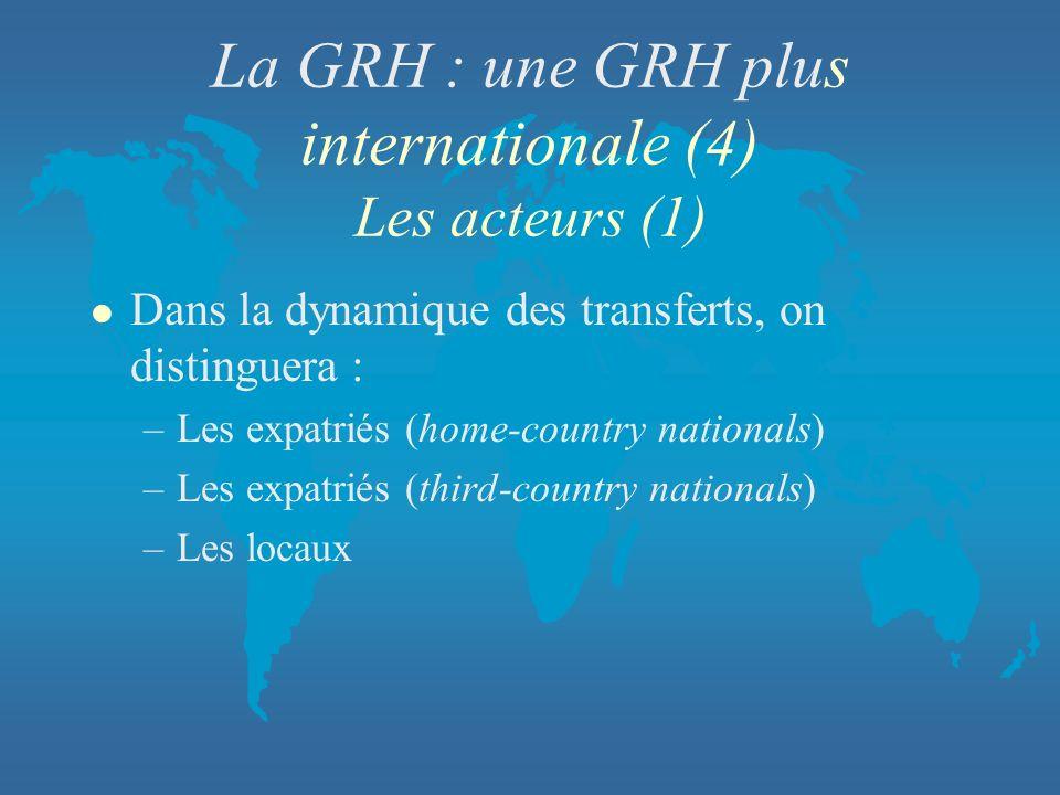 La GRH : une GRH plus internationale (4) Les acteurs (1)