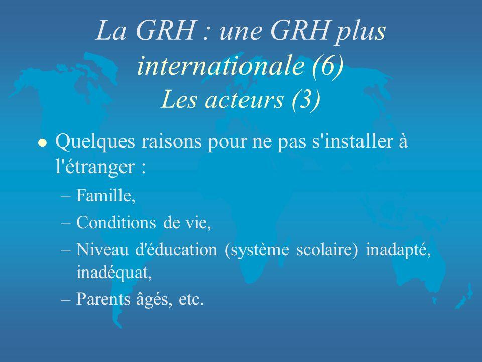 La GRH : une GRH plus internationale (6) Les acteurs (3)