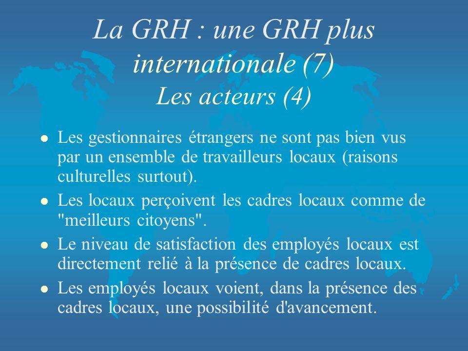 La GRH : une GRH plus internationale (7) Les acteurs (4)